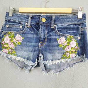 American Eagle Jean Shorts Size 00 Floral Embroid